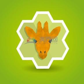 绿色背景鹿头卡通元素