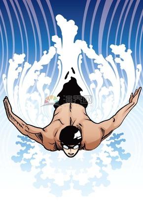 趣味活泼形象生动跳水游泳运动员卡通图