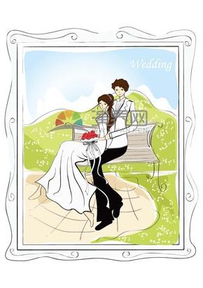 男女卡通婚纱照线描素材