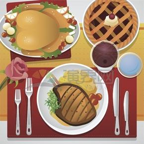西餐卡通元素食物创意设计