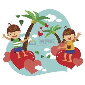 趣味活泼年轻男女朋友情侣夫妻旅行度蜜月图