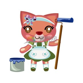卡通动物打扫卫生的小猫