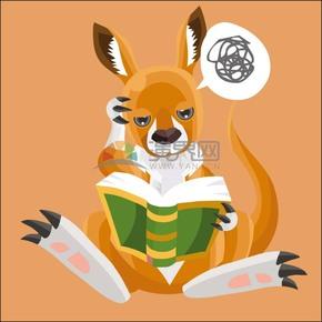 卡通動物立體幾何看書思考的袋鼠
