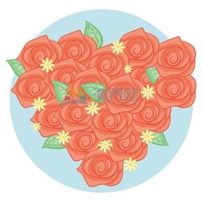 玫瑰花愛心矢量素材