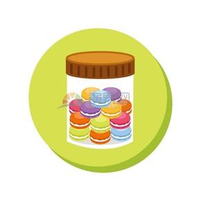 趣味活泼形象生动可爱甜品零食马卡龙卡通图