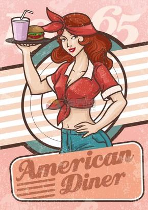 快餐的服务员性感女士创意卡通有趣人物设计
