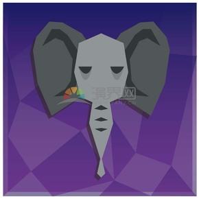紫色背景大象卡通元素