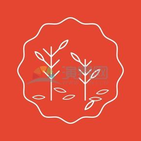 红色落叶树木矢量素材