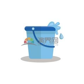 蓝色水桶水滴素材