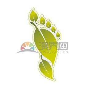 黄绿色树叶脚印