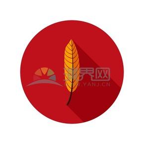 红色背景橙色叶子图标
