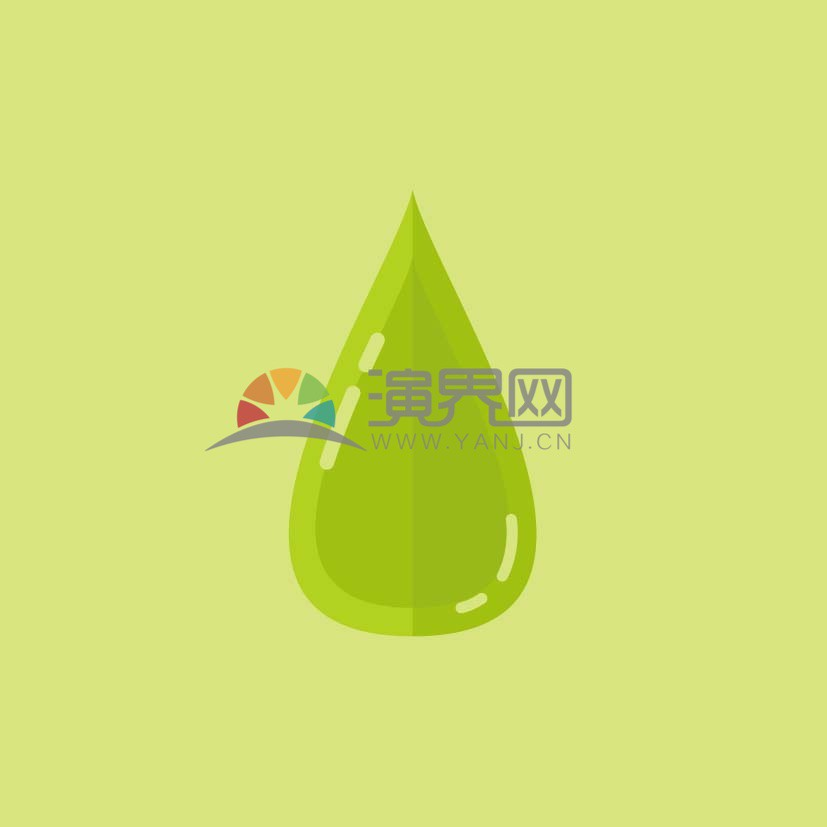 綠色清新水滴元素