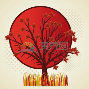 红色树木矢量素材