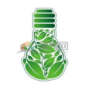 绿色树叶灯泡