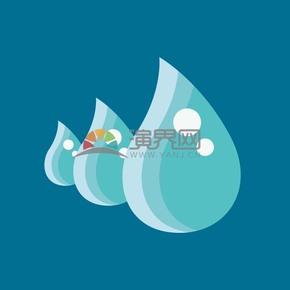 蓝色水滴矢量素材图