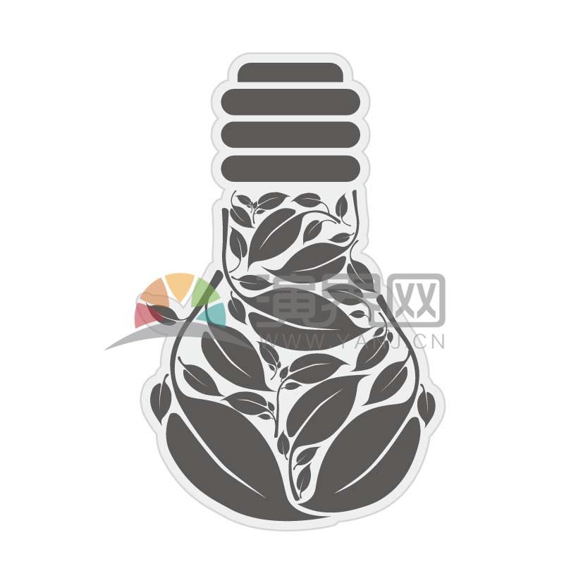 灰色樹葉燈泡