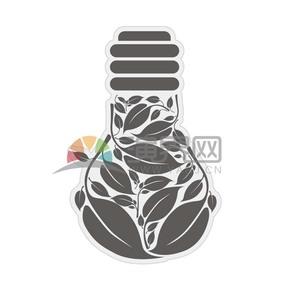 灰色树叶灯泡