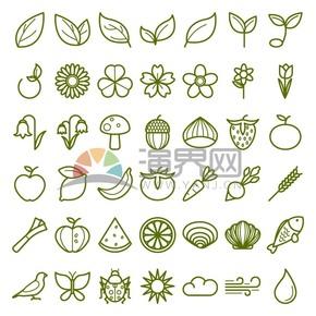 植物昆虫动物食物天气图标合集