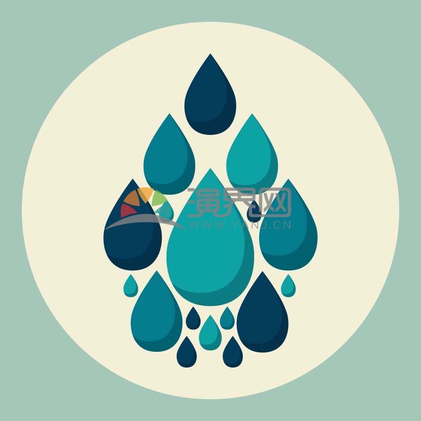 藍色創意水滴矢量素材