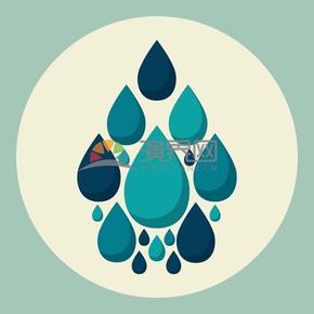 蓝色创意水滴矢量素材