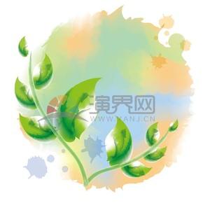 手绘水彩绿色叶子植物素材
