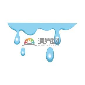 蓝色雨水水滴矢量素材