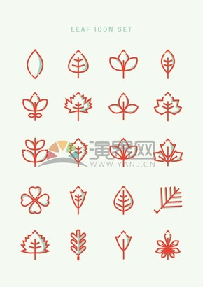 红色叶子线性图标合集