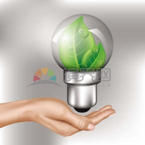 手握叶子灯泡节约能源爱护环境创意素材