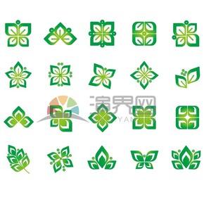 绿色叶子植物花纹素材合集