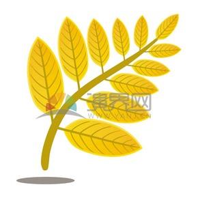 黄色卡通树叶