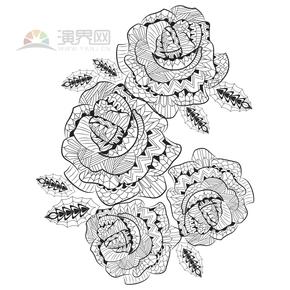 素描黑白花卉