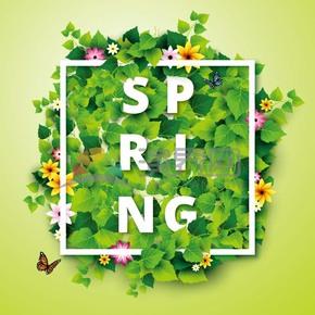 创意文字绿色树叶素材