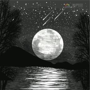 颜色透明曝光扩散模糊线条月亮雪花倒影