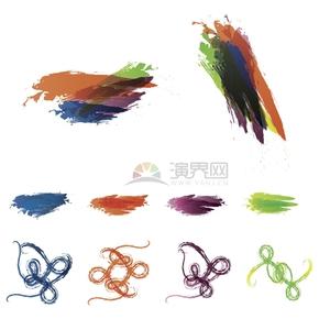 艺术设计彩色笔刷笔触合集