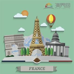 东方明珠塔建筑卡通背景设计