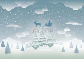 冬日雪花落下冰天雪地场景素材