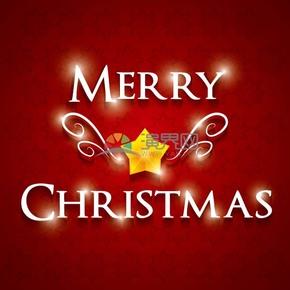 圣诞节五角星艺术字红色背景素材