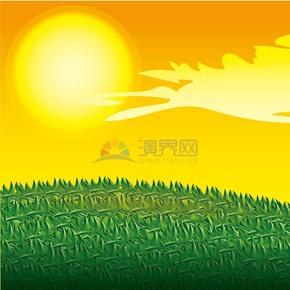 卡通春季黄昏草地插画
