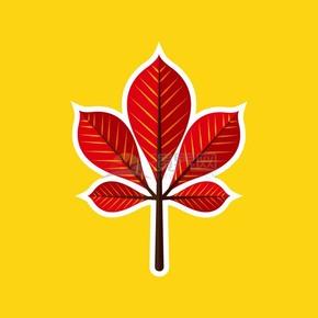 红色枫叶黄色背景图标矢量素材