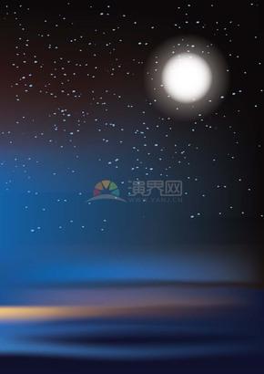 冬日夜晚安静唯美月夜月亮背景插画