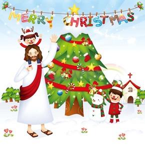 圣诞节教父带着小孩在雪地里的圣诞树下