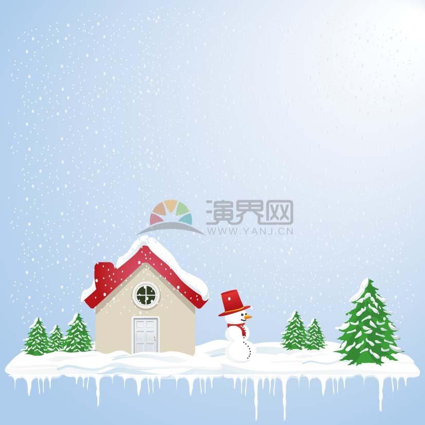 冬季雪花背景雪人房屋背景矢量素材