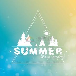 清新渐变背景夏季字体设计
