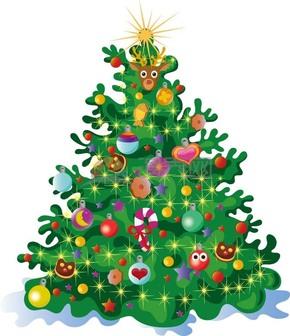 圣诞节圣诞元素圣诞树精品组合插画