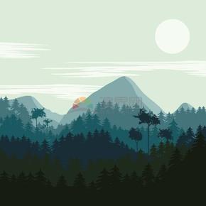 卡通清新树林插画