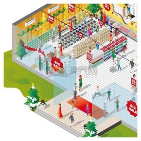 创意2.5D圣诞节商场活动精美插画素材
