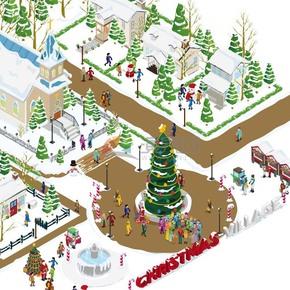 創意2.5D圣誕節社區人們歡慶精美插畫素材