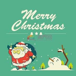 綠色雪花背景圣誕矢量素材