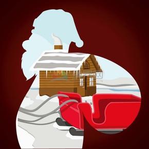 创意圣诞节剪影风插图素材