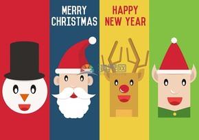 创意圣诞节雪人圣诞老人驯鹿卡片插图